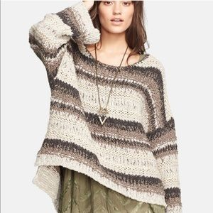 Free People Striped Oversized Chunky Sweater Brown